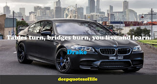Tables turn, bridges burn, you live and learn.  -Drake
