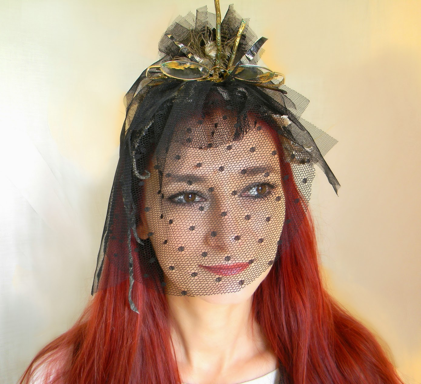 Steampunk Gothic Fascinator Headdress, Victorian Head Piece with Black Dotted Veil