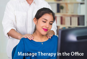 Woman benefiting from corporate massage therapy in the office.