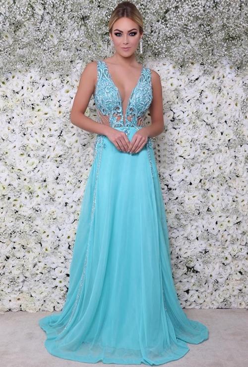 vestido de festa azul tiffany turquesa