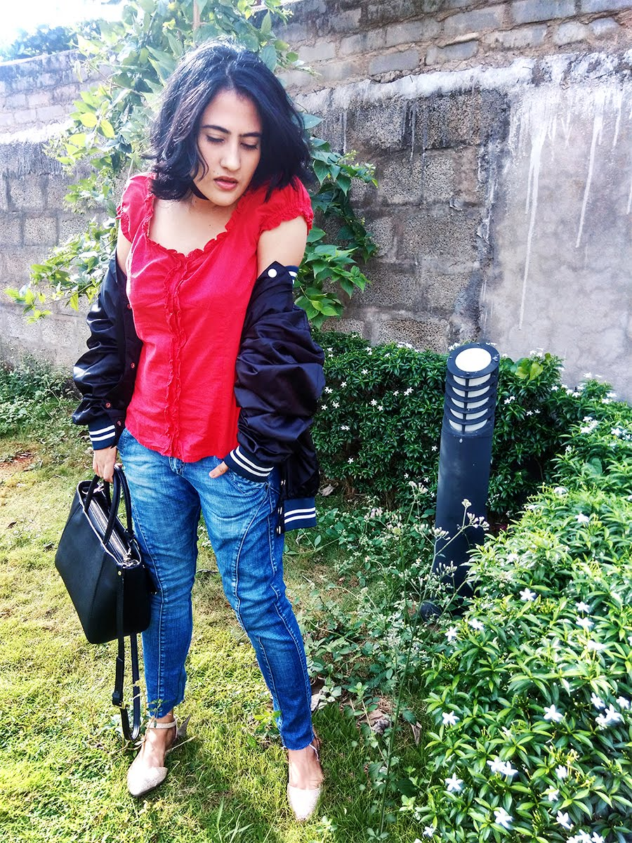 blue wrangler denim,black bomber jacket,red ruffled top,Indian style blogger