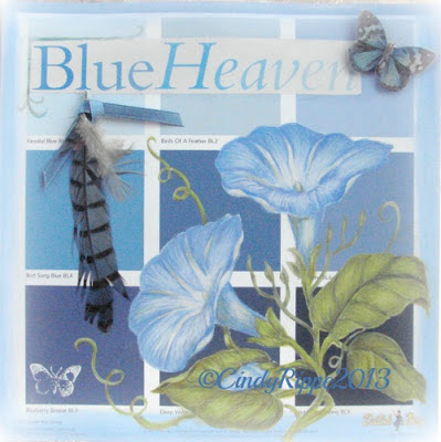 Mixed Media, Paint Chip Art, Acrylic painting, colored pencil, collage, stamping with acrylics, Blue Heaven morning glory, butterflies, blue feather, Florals, Family, Faith, Cindy Rippe