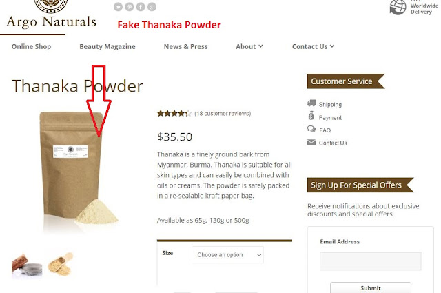 Argo Naturals Fake Thanaka Powder Beware