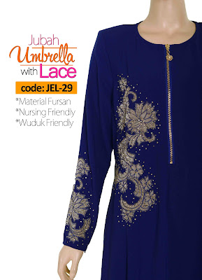 Jubah Umbrella Lace JEL-29 Blue Depan 8