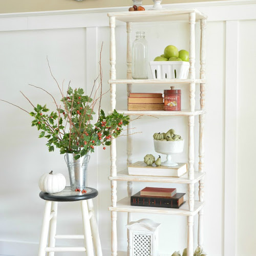 Farmhouse Etagere Bookcase From Repurposed Tiered Tables
