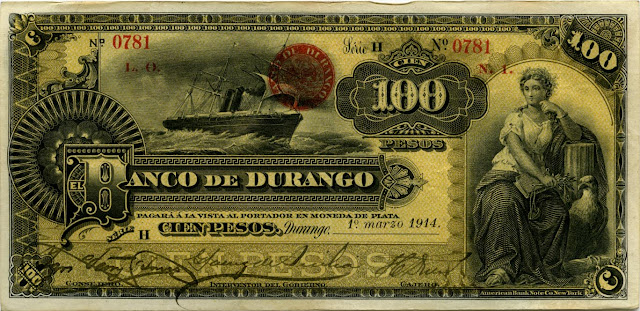 Mexican banknotes 50 Pesos banknote bill Banco de Durango