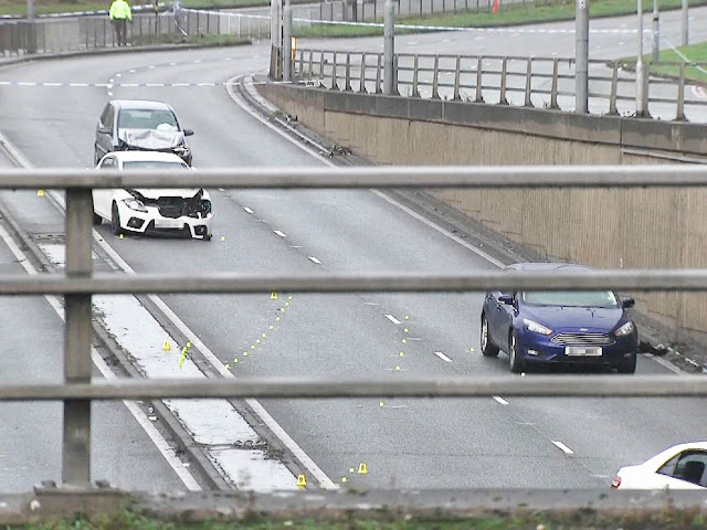 A total of six vehicles were involved