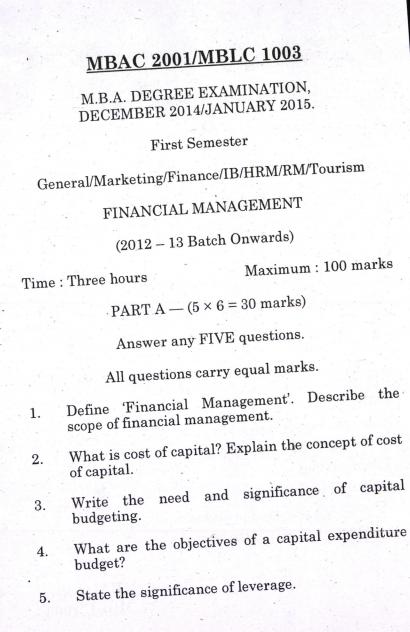 Financial Management MBA Pondicherry University 2014-15