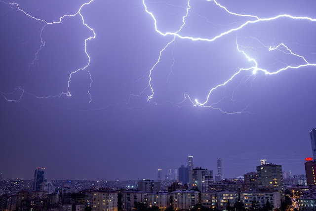 Thunder, lightning, cityscape, sky, weather, rain, storm, flash, nature, night, thunderbolt