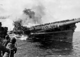 Burning warship.