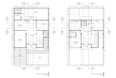 Gambar Denah Potongan Lantai 1 dan Lantai 2