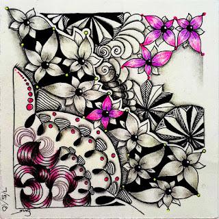 Refresher #182 with Tangle Patterns: Gneiss, Tumbleweed, Tamarai, Cake, Joki