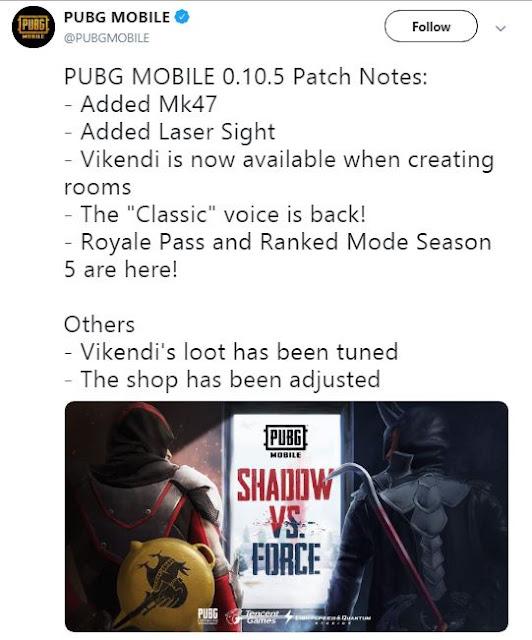 Kapan Update Season 5 PUBG Mobile