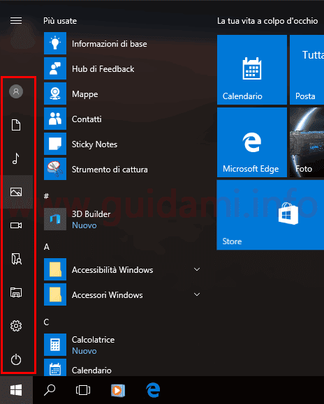 Windows 10 cartelle personali nel menu Start