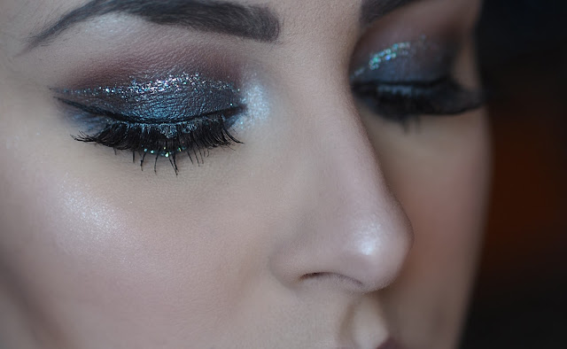 smokey glitter makeup look
