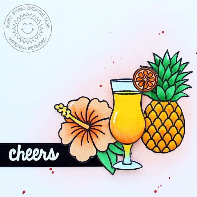 Sunny Studio Stamps: Tropical Paradise Pineapple Pina Colada Cheers Card by Vanessa Menhorn.