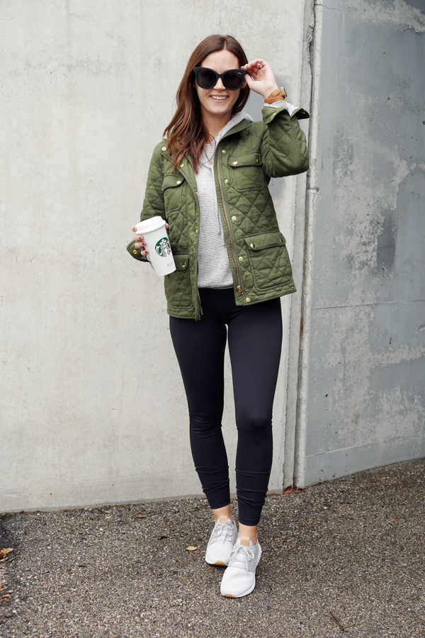 Pieces like these leggings and sneakers are great to pair with a casual  hoodie and quilted jackets for cool days running errands 8a8746f87be8