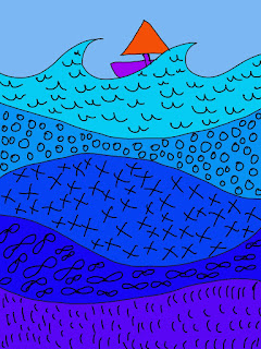 student drawing of a sailboat on patterned water