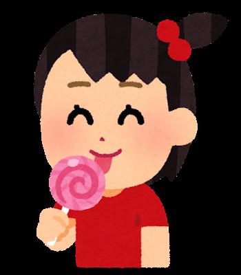 棒付きキャンディを食べる子供のイラスト(女の子)