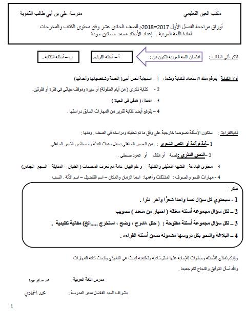 اوراق عمل مراجعة عامة في اللغة العربية للصف الحادي عشر
