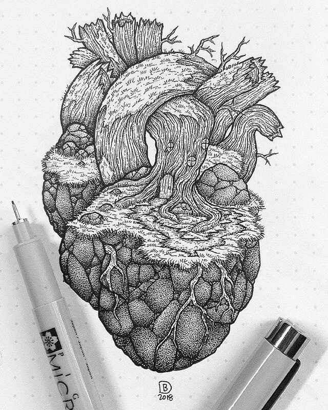 08-Home-Is-Where-The-Heart-is-Dylan-Brady-Stippling-Drawings-in-Ink-www-designstack-co