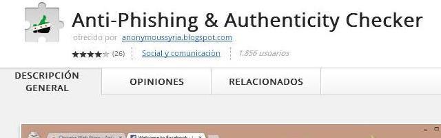 ExtensiónAnti-Phishing & Authenticity Checker