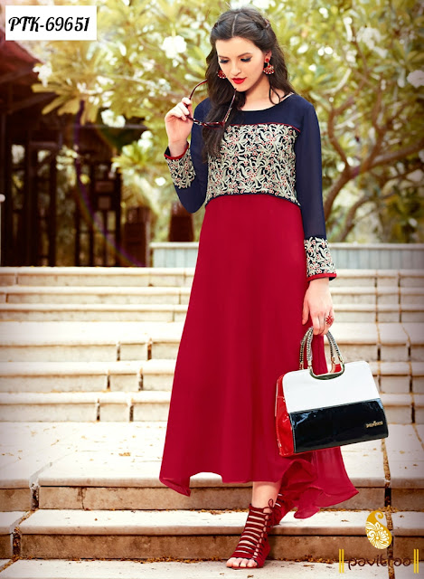 Blue Color Georgette Buy Online Party Wear Kurtis In Lowest Price Range From Pavitraa.in