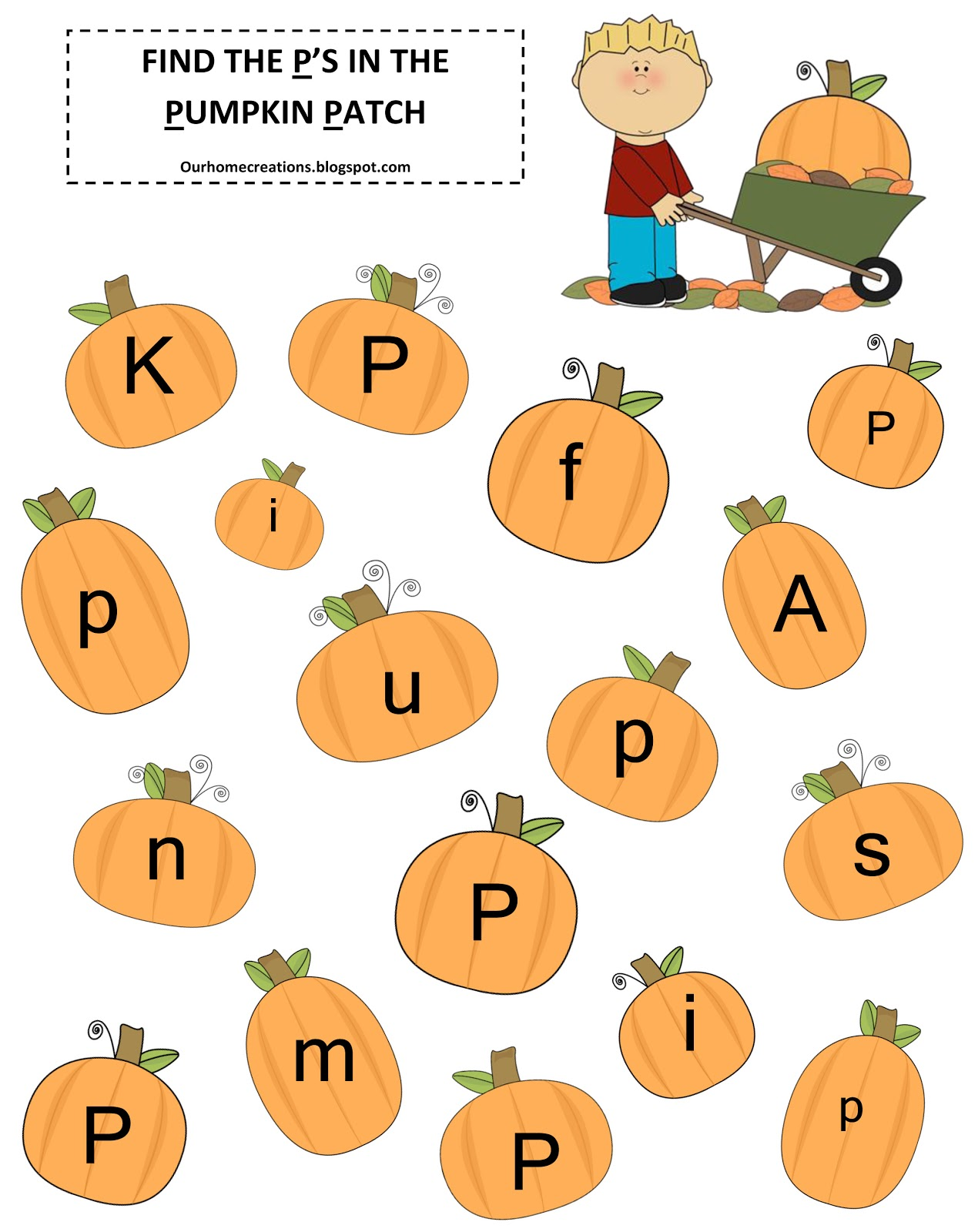 Worksheets Pumpkin P Letter Preschool