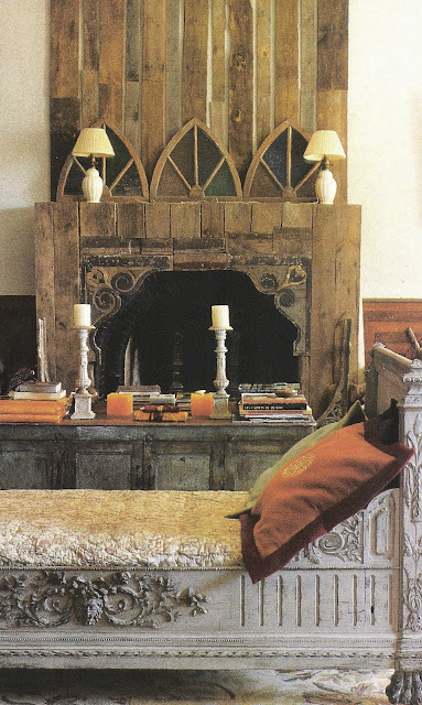 Carved daybed and fireplace, unknown source, edited by lb for linenandlavender.net, here:  http://www.linenandlavender.net/2009/10/room-without-books.html