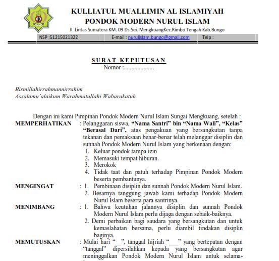 Contoh Surat Keputusan Mengeluarkan Santri Dari Pondok