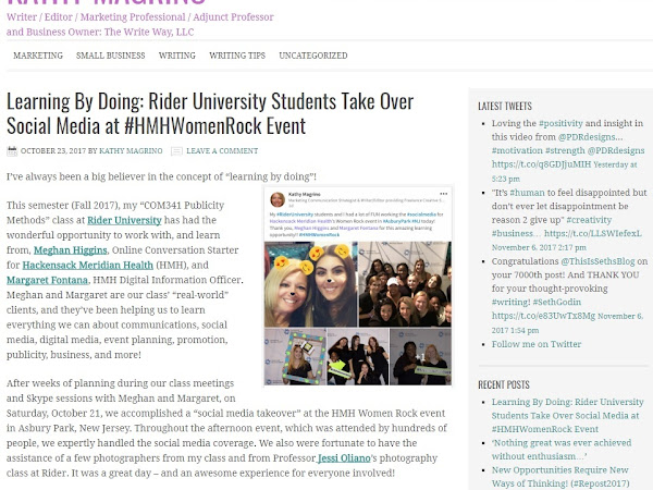 """""""Learning By Doing: Rider University Students Take Over Social Media at #HMHWomenRock Event"""" - A Great Partnership!"""