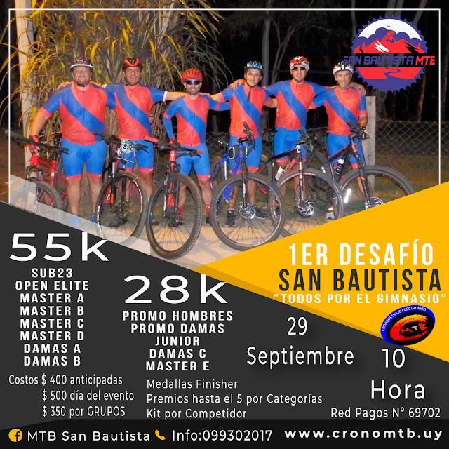MTB - Primer Desafío Todos por el gimnasio local de San Bautista (Canelones, 29/sep/2019)