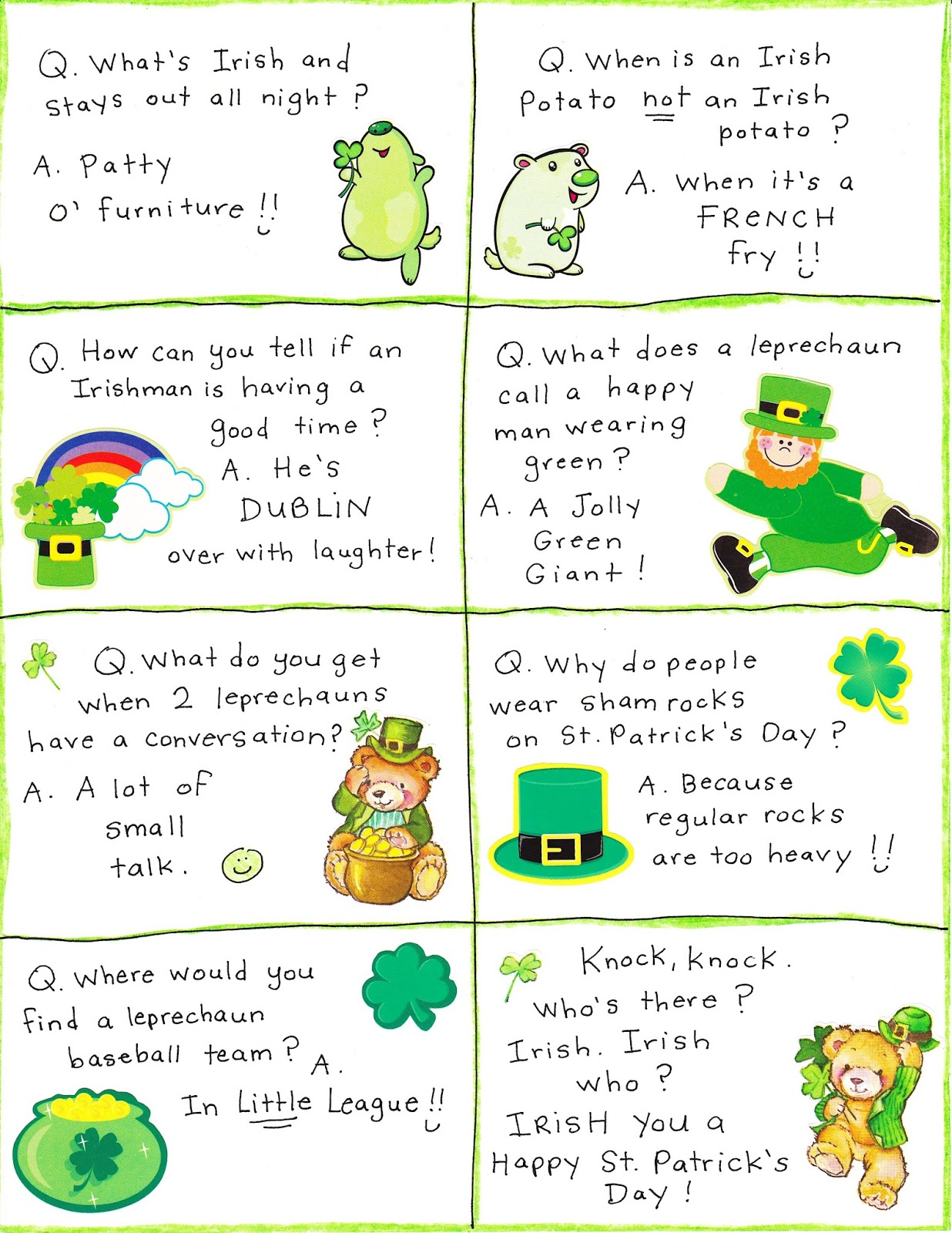 Worksheet Kindergarten Riddles With Answers st patricks day irish jokes limericks riddles one liners one