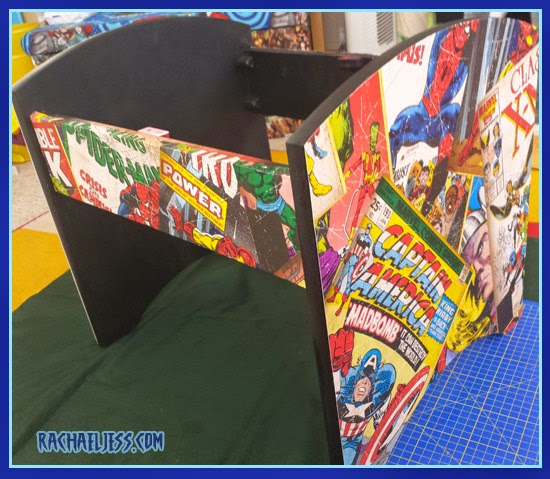 Covering the stool with Marvel Wallpaper