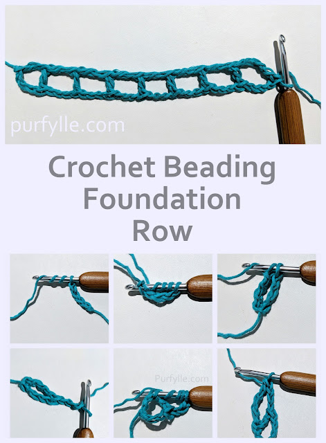 How to work a crochet beading foundation row, free pattern and tutorial.