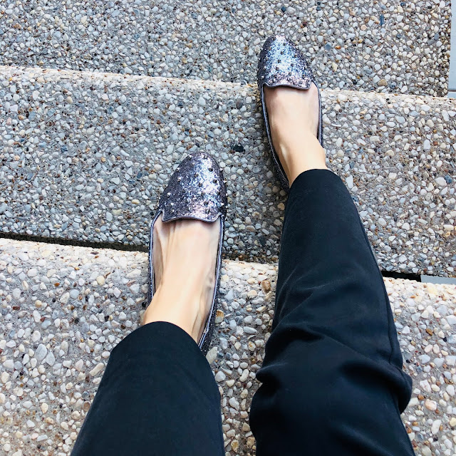 I Wore The Same Outfit For A Week And No One Noticed- Spiked glittery lavendar flats from Candies