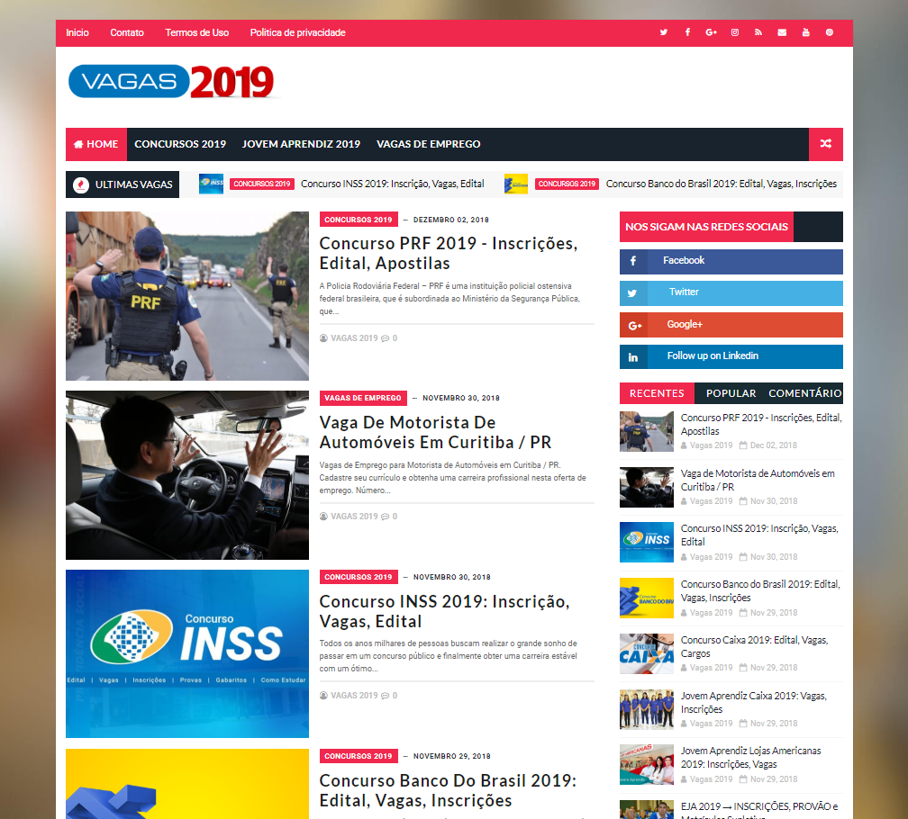 Vagas 2019 - Site + Logo