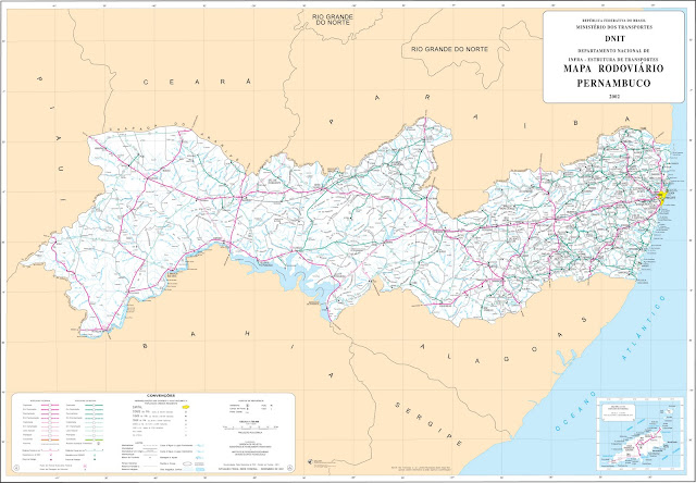 Mapa rodoviário de Pernambuco DNIT
