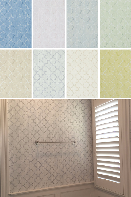 avaiable in 9 colors,Project: Master Bathroom, chinese trellis - SLATE Wallpaper - PDG650/09, residential, This traditional pattern, with its exquisite, and tasteful, fresco trellising, is inspired by a faded Chinese folding screen. (Screens and room dividers can be traced back as far as China's Zhou Dynasty 771-256 BCE) The design features a geometric pattern with a distressed coloured effect, producing an elegant, and sophisticated, wallpaper. Thanks to its classic and timeless style, Chinese Trellis is a suitable choice for either a modern or a rustic setting. Slate
