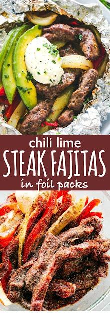 Chili Lime Steak Fajitas in Foil Packs