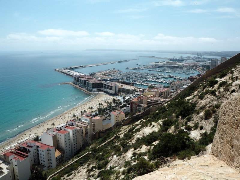 Looking down on the beachs of Alicante from the castle