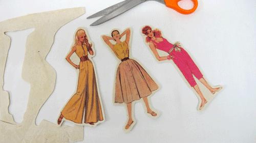 découper les silhouettes de patron de couture