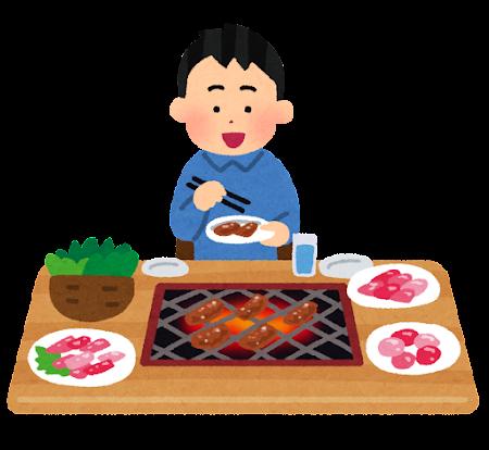 一人焼肉のイラスト(男性)