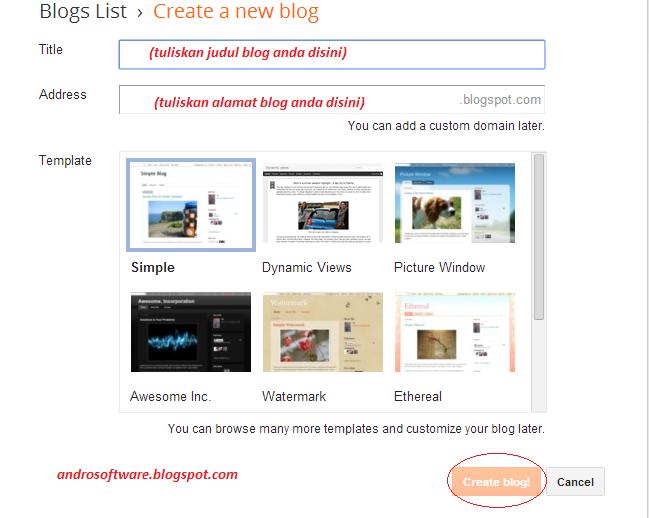 gambar cara mengisi judul dan alamat blog