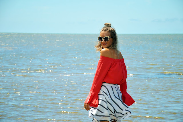 cute summer outfit off shoulder flare sleeve top with assymetric stripe skirt nautical trend