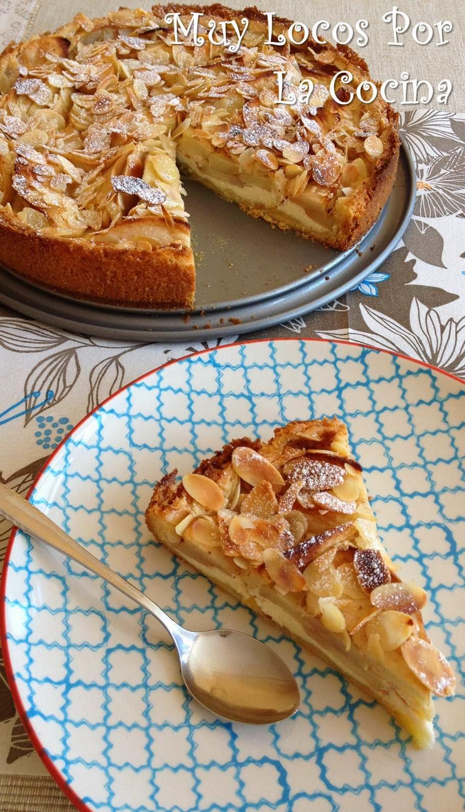 Muy Locos Por La Cocina Tarta De Manzanas Y Almendras Laminadas Con Relleno De Queso