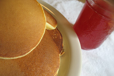 Strawberry-Rhubarb Syrup with Ricotta Pancakes