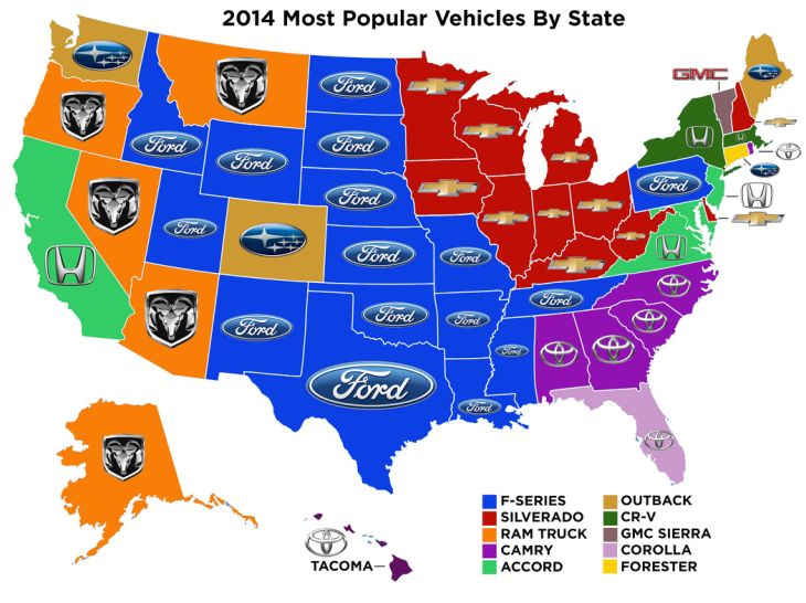 Top Selling Car Brands in Each State