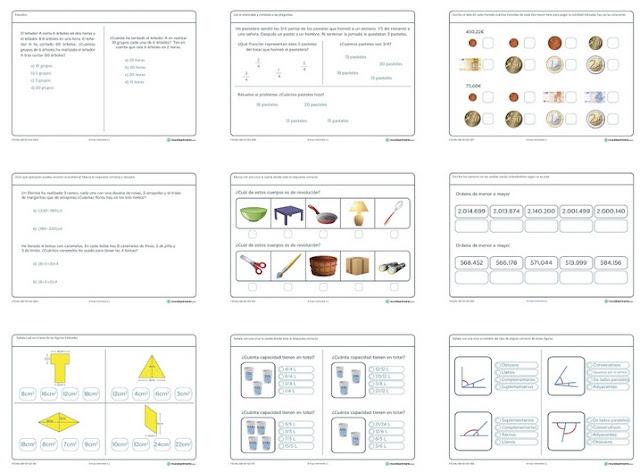 12 fichas de matemática para sexto grado de educación primaria
