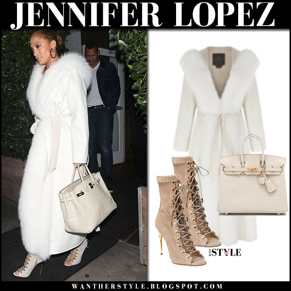 Jennifer Lopez in white fur trim coat, lace-up booties with cream bag hermes birkin winter luxe style january 21